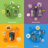 Recruitment HR People 2x2 Icons Set. Recruitment HR people 2x2 flat icons set with job interview and resume  vector illustration Stock Image