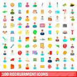 100 recruitment icons set, cartoon style. 100 recruitment icons set in cartoon style for any design illustration Stock Image
