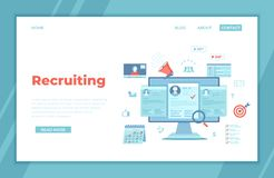 Recruitment platform, agency, hr. Human resources, Employment, Selection of the best candidate. Resume, megaphone, calendar, video. Connection. landing page vector illustration