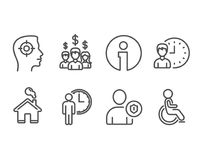 Recruitment, Security and Salary employees icons. Waiting, Working hours and Disabled signs. royalty free illustration