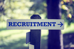 Recruitment signpost Royalty Free Stock Image