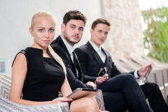 Recruitment. Three candidates for the job in the office sitting Royalty Free Stock Photography