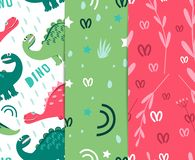 Recruitment of tissue from the dinosaurs. tropics`. Dinosaurs walking in a clearing. For the design of children`s clothing, fabric. Seamless pattern of colored royalty free illustration