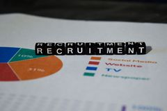 Recruitment on wooden blocks. Job Work Vacancy Search Concept royalty free stock image
