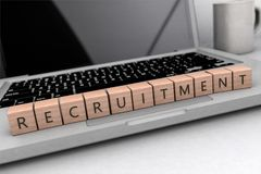 Recruitment text concept. Recruitment - wooden letters on notebook computer - 3d render illustration Stock Images