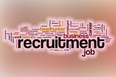 Recruitment word cloud with abstract background Stock Photo