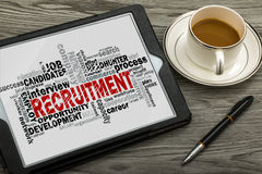 Recruitment word cloud. With related tags royalty free stock photos