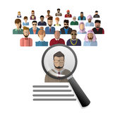 Recruitment Zoom Magnifying Glass Picking Business Person Candidate People Group Royalty Free Stock Images
