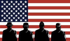 Recrutas e bandeira militares Foto de Stock