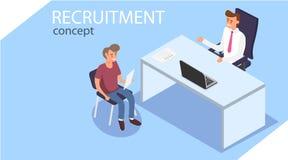 recrutement Concept isométrique de recrutement Les employés de bureau s'asseyent dans isometry Une personne est interviewée illustration libre de droits