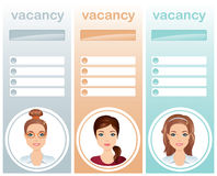Recrutement de personnel, femelles de vacances d'emploi Photos stock