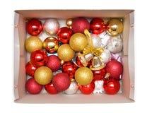 Rectángulo con las decoraciones del árbol del Año Nuevo Fotos de archivo libres de regalías