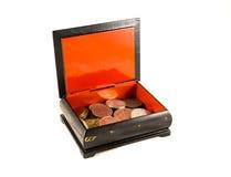 Rectángulo con las monedas Imagenes de archivo