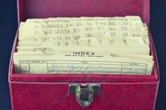 Rectángulo de almacenaje del vinilo de la vendimia y tarjetas de índice retros Foto de archivo