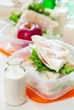 Rectángulo de almuerzo con el emparedado Imagen de archivo libre de regalías