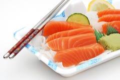 Rectángulo de almuerzo del sashimi del sushi Foto de archivo