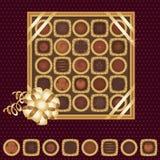 Rectángulo de chocolates con una cinta Fotografía de archivo libre de regalías