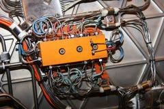 Rectángulo de control en el motor de jet. Fotos de archivo
