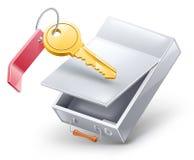 Rectángulo de depósito de seguridad con clave Imágenes de archivo libres de regalías