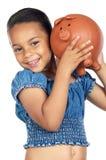 Rectángulo de dinero de la pizca de la muchacha Fotografía de archivo libre de regalías