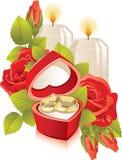Rectángulo de joyería con los anillos de bodas Imagenes de archivo