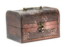 Rectángulo de joyería de madera viejo Imágenes de archivo libres de regalías