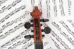 Rectángulo de la clavija del violín con música Imágenes de archivo libres de regalías