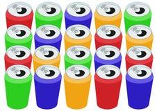 Rectángulo de latas coloridas Foto de archivo libre de regalías