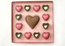 Rectángulo de los chocolates de la tarjeta del día de San Valentín imagen de archivo
