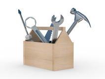 Rectángulo de madera con las herramientas. Fotos de archivo