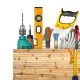 Rectángulo de madera con las herramientas industriales Imagen de archivo