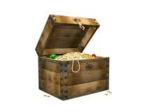 Rectángulo de madera con los tesoros. 3d Fotografía de archivo