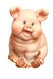 Rectángulo de moneda un cerdo en un fondo blanco Fotografía de archivo
