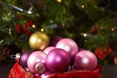 Rectángulo de ornamentos de la Navidad Imágenes de archivo libres de regalías