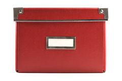 Rectángulo de papel rojo con la escritura de la etiqueta blanca Foto de archivo