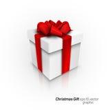rectángulo de regalo 3D con el arqueamiento rojo de la cinta Foto de archivo libre de regalías