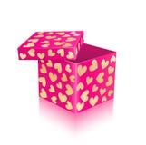 Rectángulo de regalo abierto del color de rosa con los corazones del oro Imagen de archivo