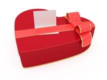 Rectángulo de regalo aislado del día de tarjetas del día de San Valentín con la tarjeta en blanco Imagenes de archivo