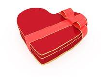 Rectángulo de regalo aislado del día de tarjetas del día de San Valentín de dimensión de una variable del corazón Foto de archivo libre de regalías
