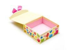 Rectángulo de regalo amarillo abierto hecho a mano Foto de archivo libre de regalías