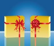 Rectángulo de regalo amarillo dos Fotos de archivo libres de regalías