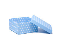 Rectángulo de regalo azul con los puntos de polca foto de archivo