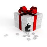 Rectángulo de regalo blanco del rompecabezas Fotos de archivo libres de regalías