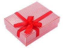 Rectángulo de regalo checkered rojo y blanco imagen de archivo libre de regalías
