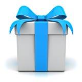 Rectángulo de regalo con el arqueamiento de la cinta azul Imagenes de archivo