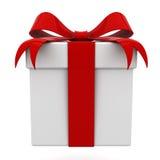 Rectángulo de regalo con el arqueamiento rojo de la cinta Imágenes de archivo libres de regalías