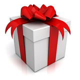 Rectángulo de regalo con el arqueamiento y la cinta rojos Foto de archivo libre de regalías