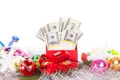 Rectángulo de regalo con el dinero Foto de archivo libre de regalías