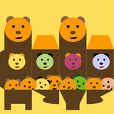 Rectángulo de regalo con el oso divertido Ilustración del Vector