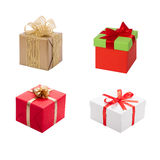 Rectángulo de regalo con la cinta y el arqueamiento Sistema del presente Fotografía de archivo libre de regalías